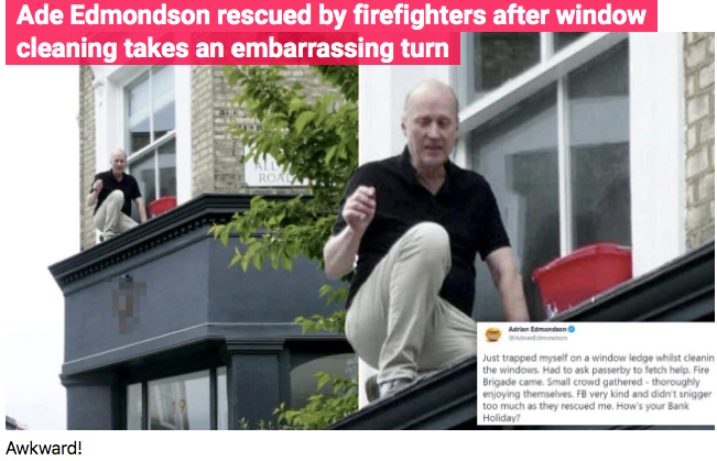 Snip from Metro to show the incident of Ade Edmondson